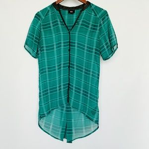 Mossimo Sheer Green Plaid Hi Low Button Down Shirt